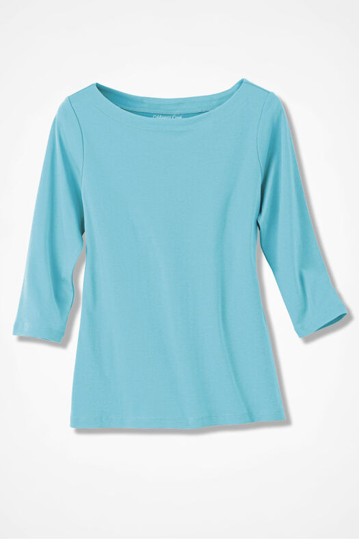 Essential Supima® Boatneck Tee, Bright Turquoise, large