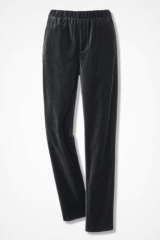 Pull-on Velveteen Pants, Black, large