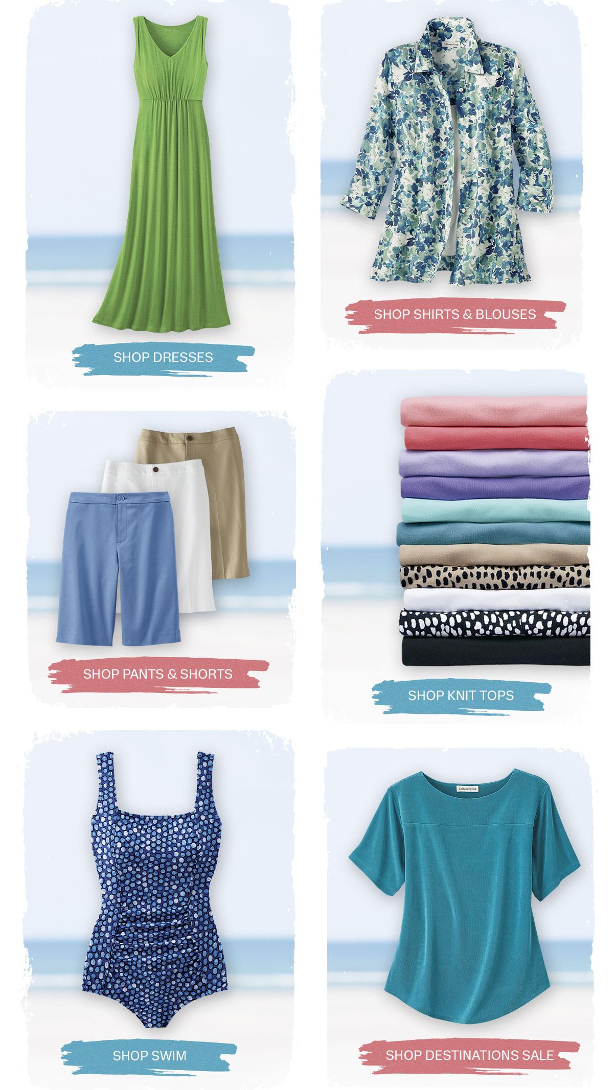 dresses shirts pants shorts swim destinations knit tops