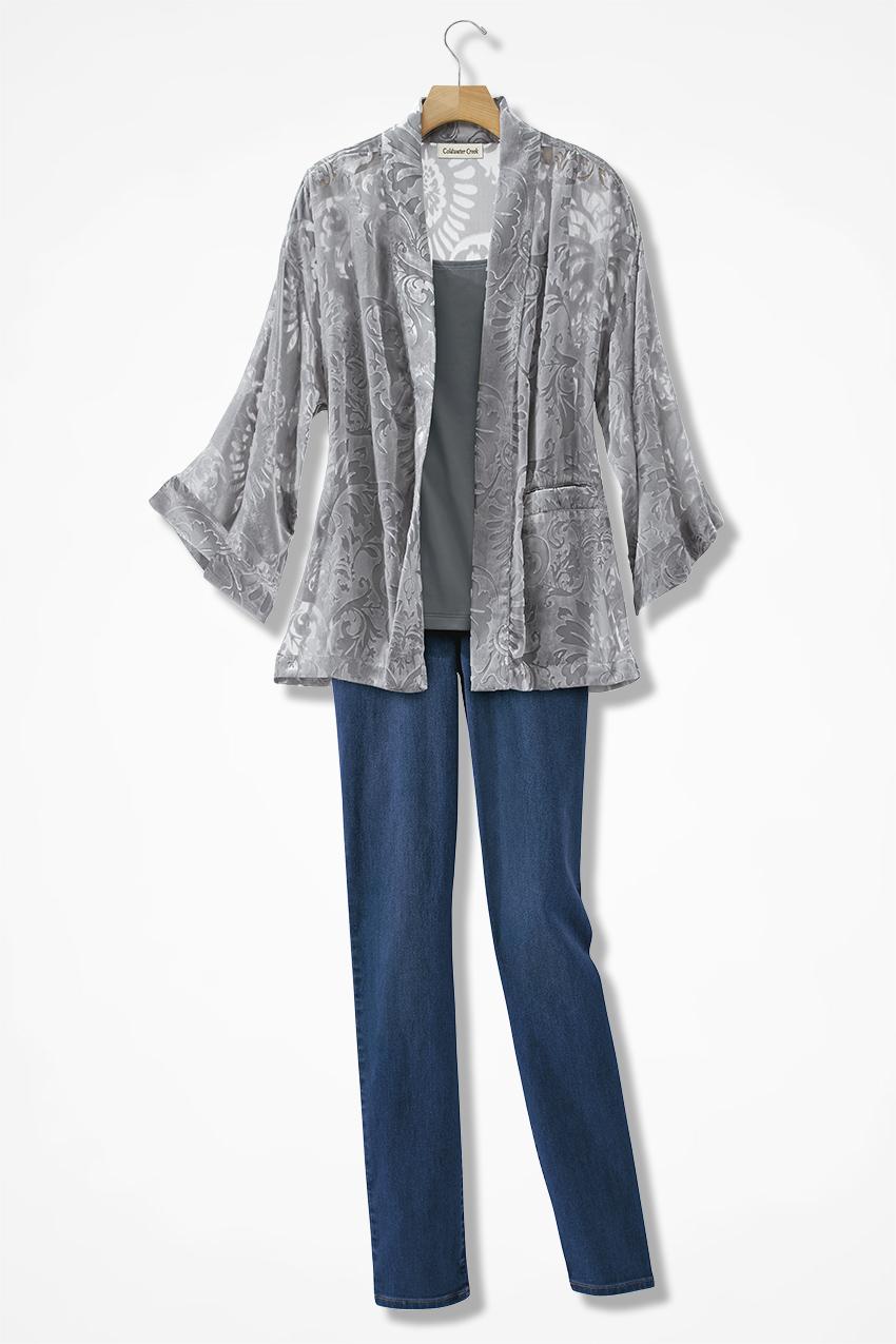 burnout velvet kimono jacket coldwater creek. Black Bedroom Furniture Sets. Home Design Ideas