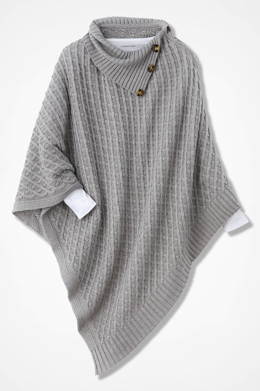 Sweater Weather Button Trim Poncho Coldwater Creek