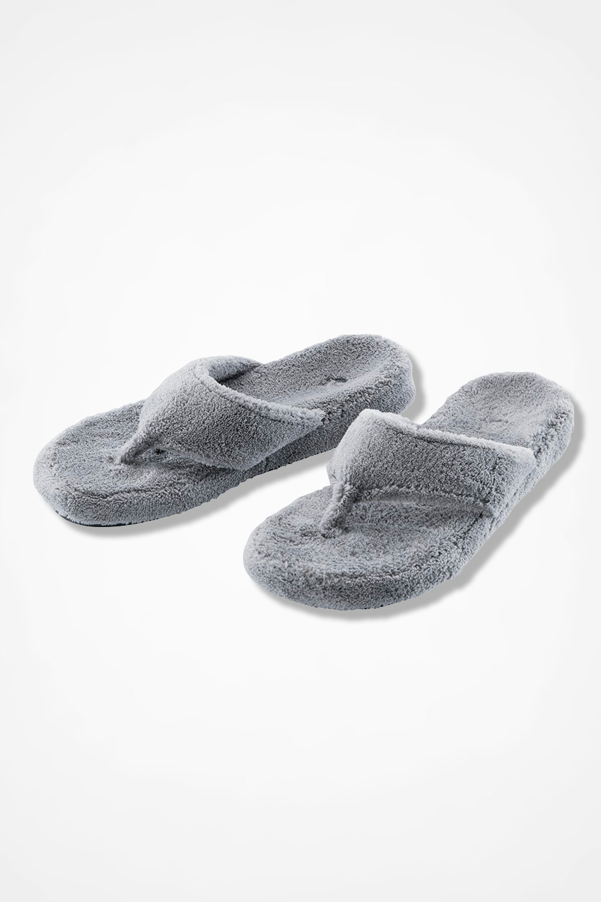 """4e6b16c6a0560 """"Spa Thong"""" Slippers by Acorn®, Grey, large. """""""