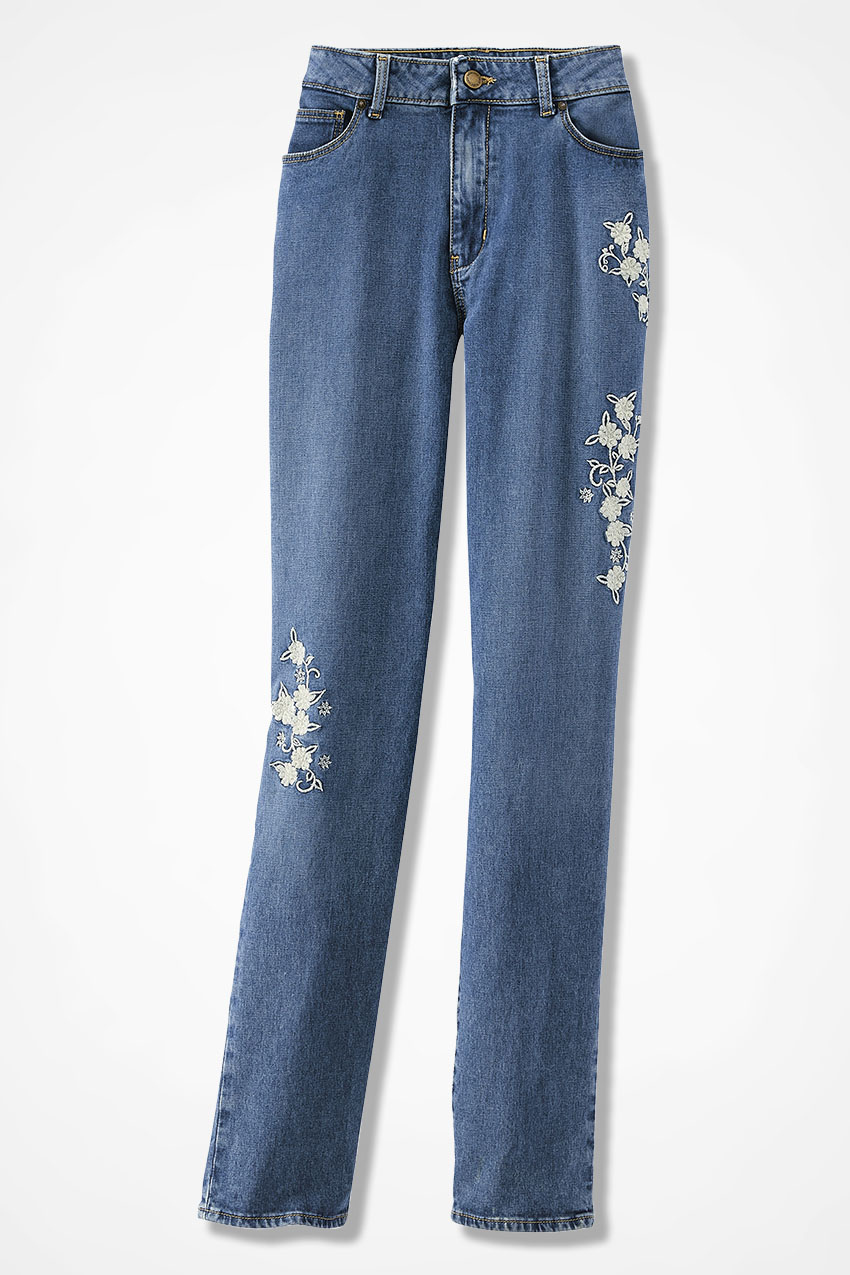 The creek� embroidered slim leg jeans coldwater creek