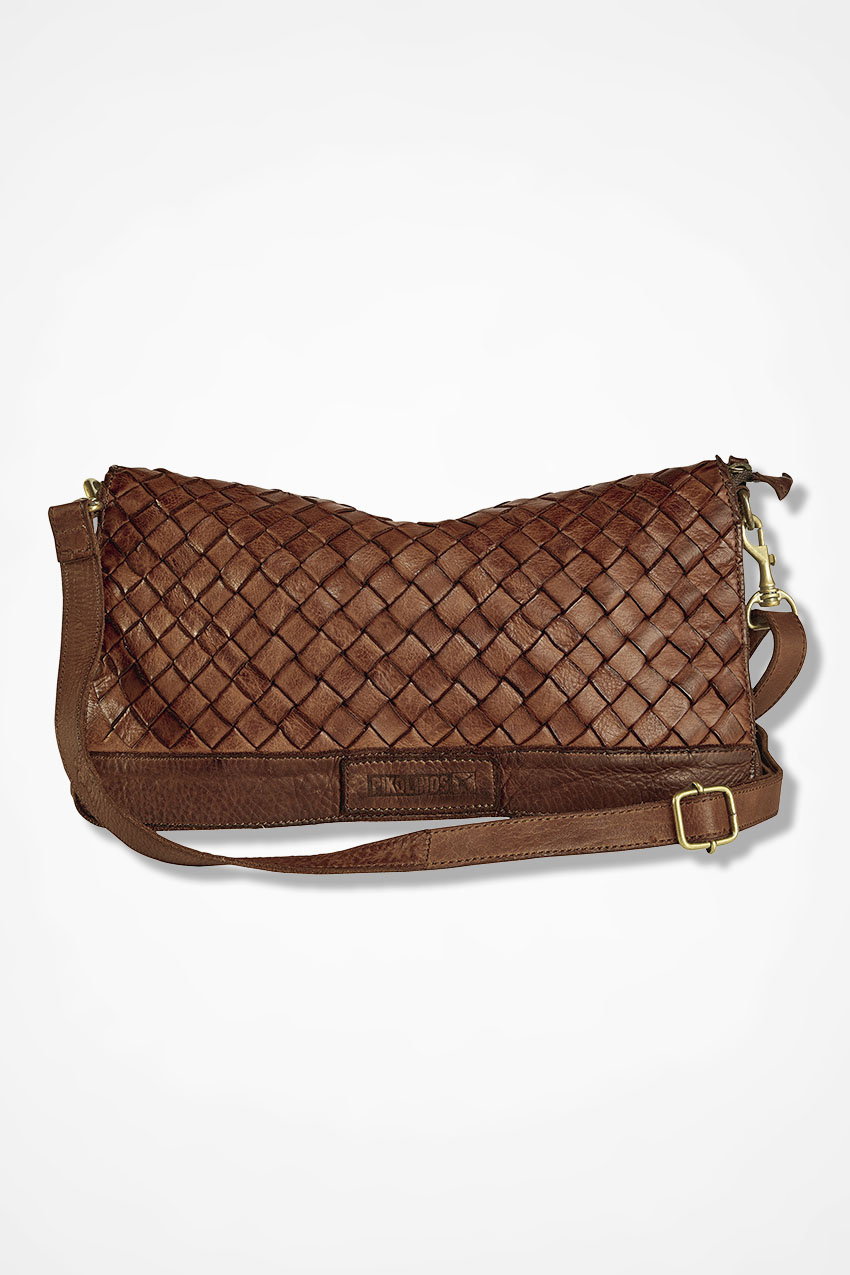 a0c2b25db Attractive Woven Leather Crossbody Bag by Pikolinos® - Coldwater Creek MC59