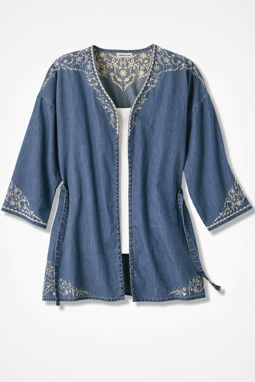 Lightweight denim embroidered topper coldwater creek