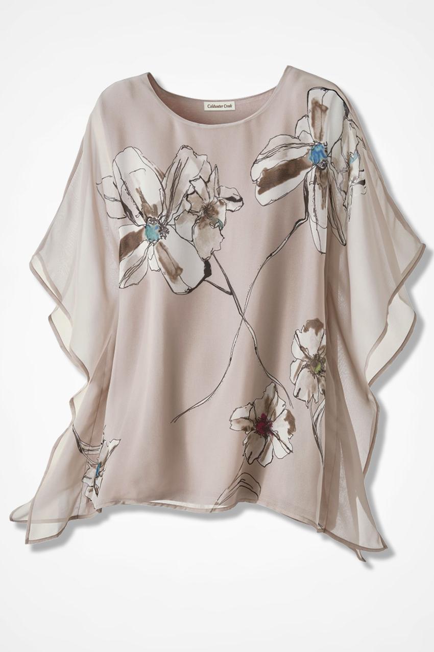 35f992bdad01 Floral Chiffon Poncho, Soft Taupe, large