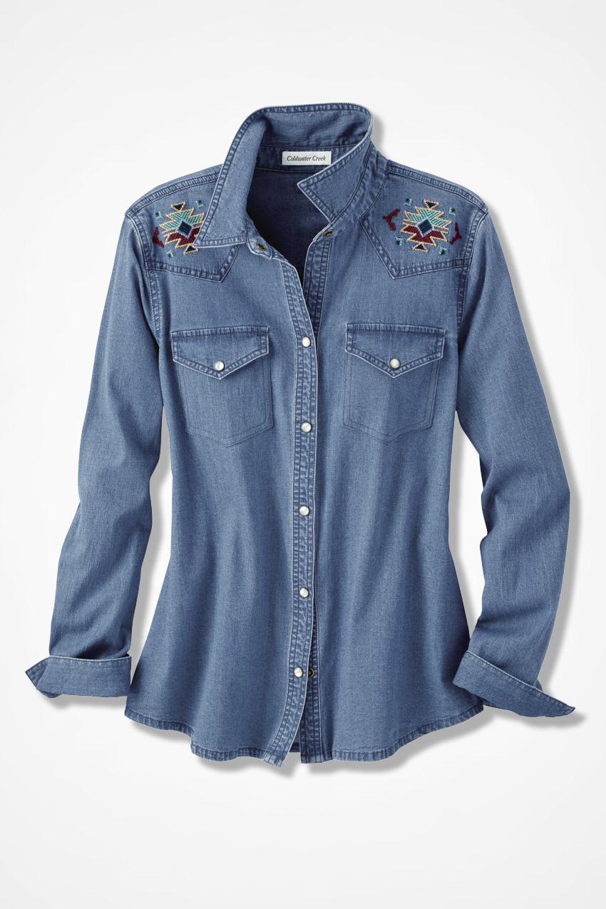 Embroidered denim shirt coldwater creek