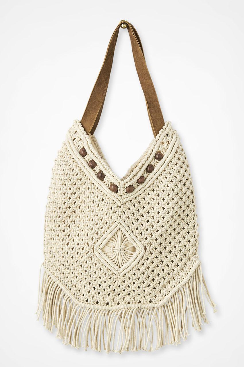 Vintage Handbags, Purses, Bags *New* Coldwater Creek Fringed Macramé Hobo Bag in Ivory Size ONE $19.97 AT vintagedancer.com