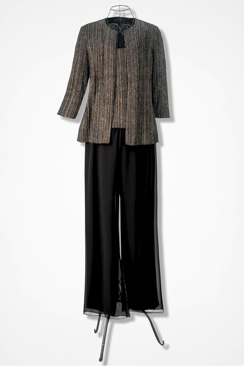 ceebbbca092ffe Celebration 3-Piece Pants Set by Alex Evenings, Black Multi, large