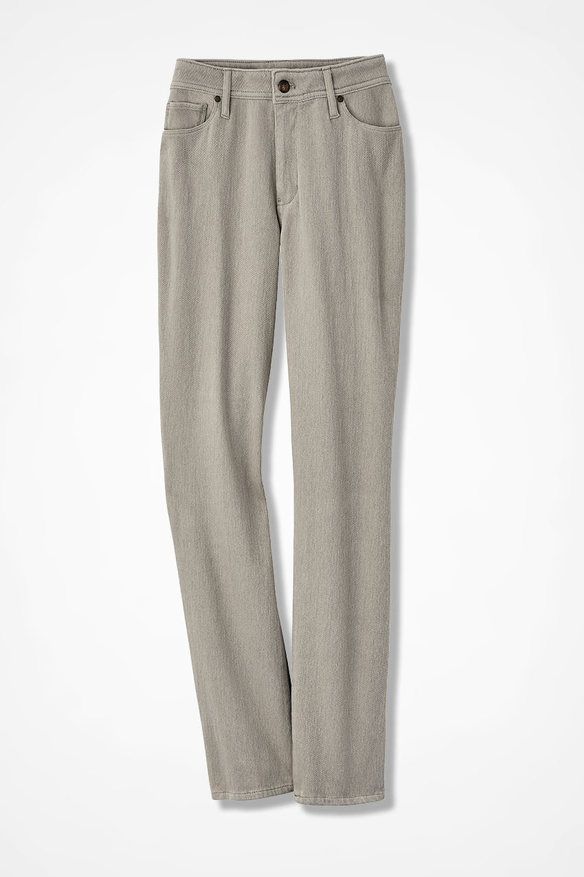 437d6f207e01eb Knit Denim Ankle Jeans, Sandstone, large