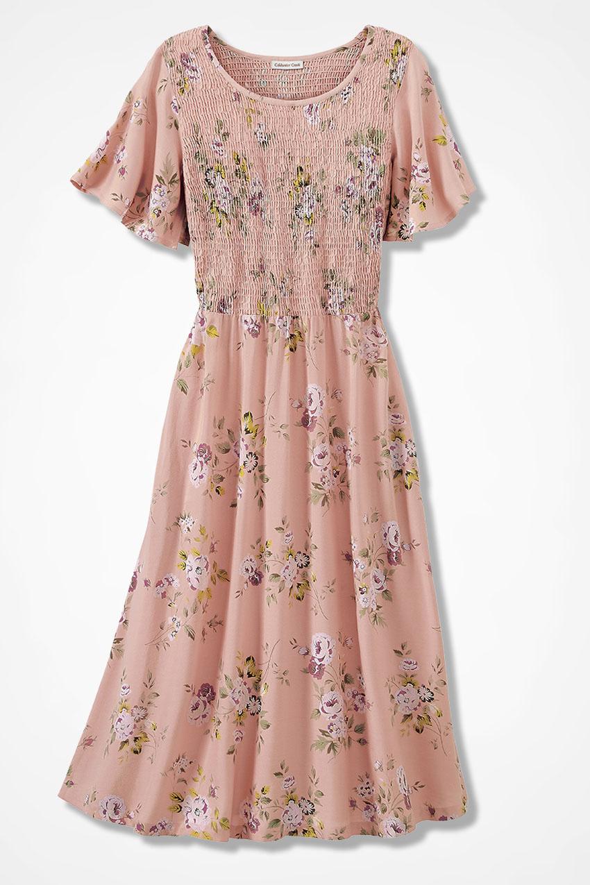 Prairie Flower Smocked Dress Blush Large