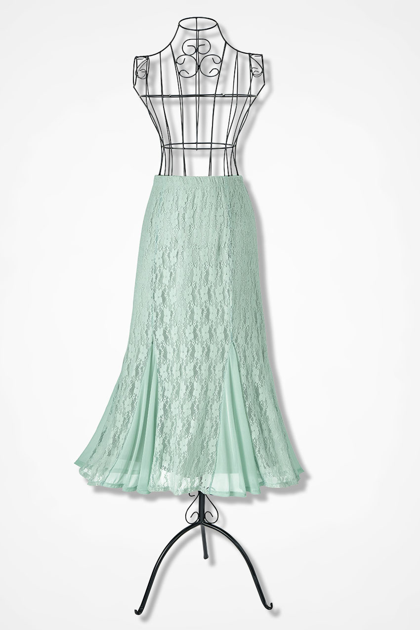 1930s Style Skirts : Midi Skirts, Tea Length, Pleated Coldwater Creek Lavish Lace Skirt  in Sage Size 3X $54.99 AT vintagedancer.com