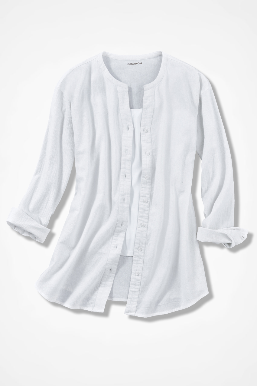 Crinkle Cotton Big Shirt Coldwater Creek