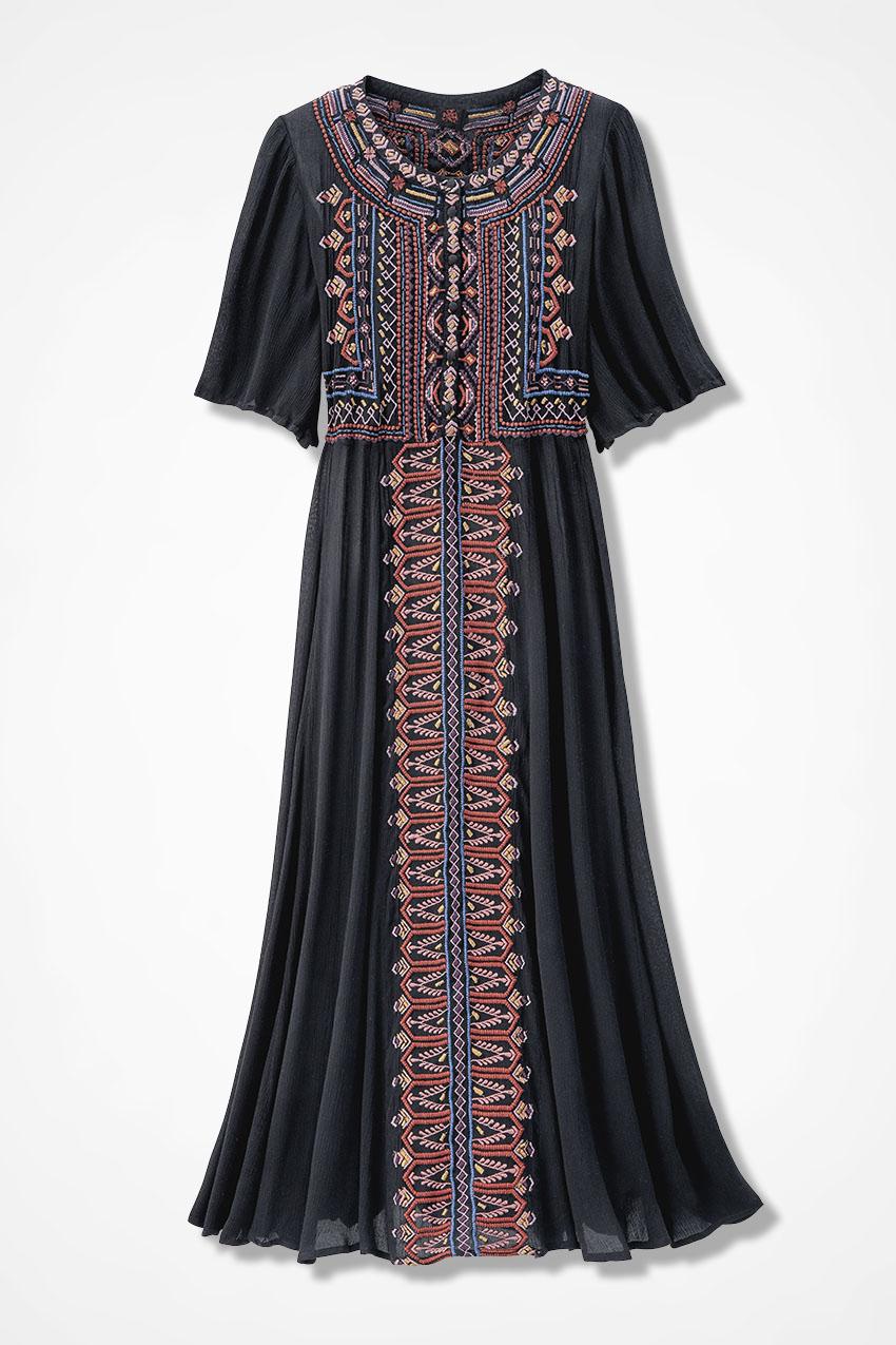 70s Dresses – Disco Dress, Hippie Dress, Wrap Dress Coldwater Creek Tradewinds Maxi Dress  in Black Multi Size PL $69.99 AT vintagedancer.com