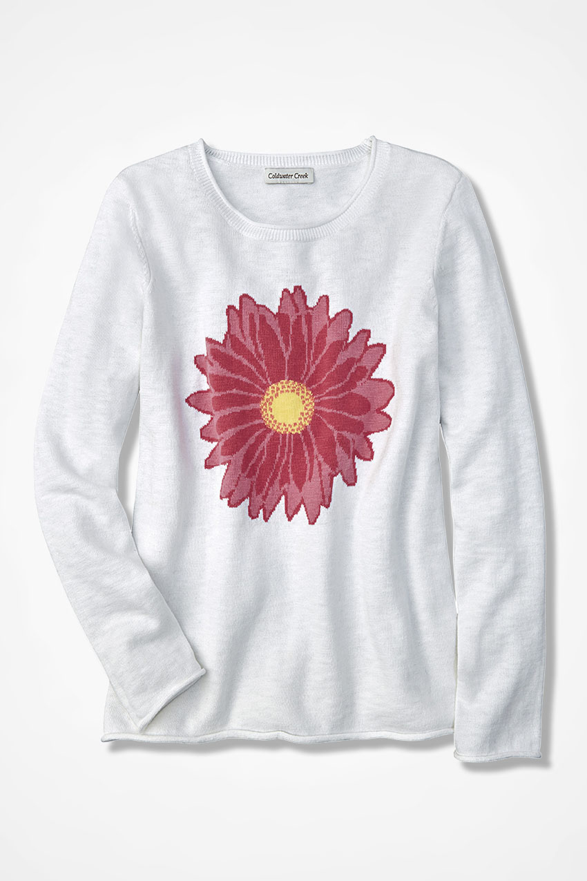 e7d5aaa7632 Painted Daisy Intarsia Sweater - Coldwater Creek