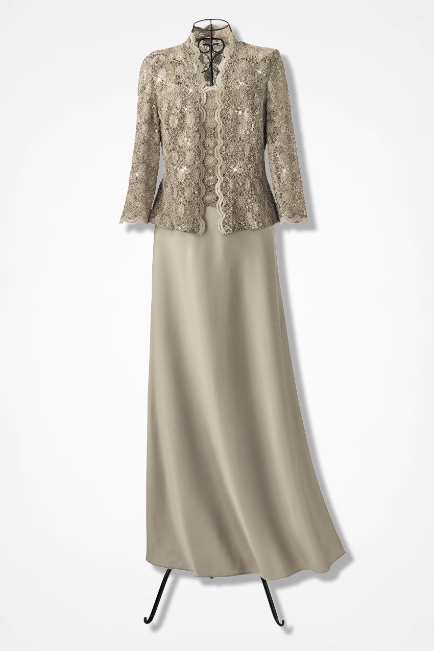 535f0b3799a1 Sparkling Lace Jacket Dress by Alex Evenings, Champagne, large