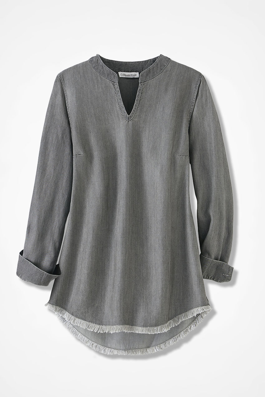 68bef68e0c0 Moonglow Tencel® Twill Tunic, Washed Grey, large