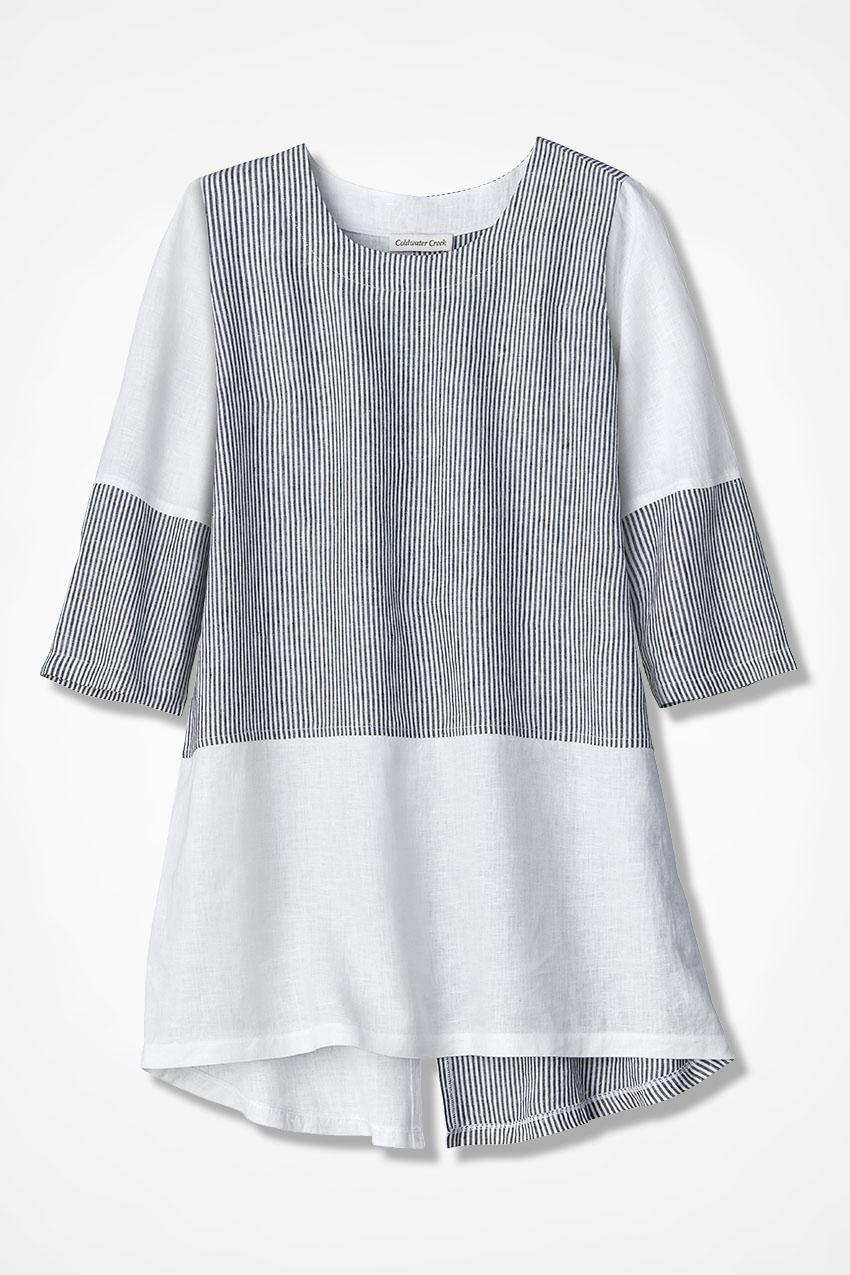 d8332678 Pattern Block Linen Tunic, Black/White, large