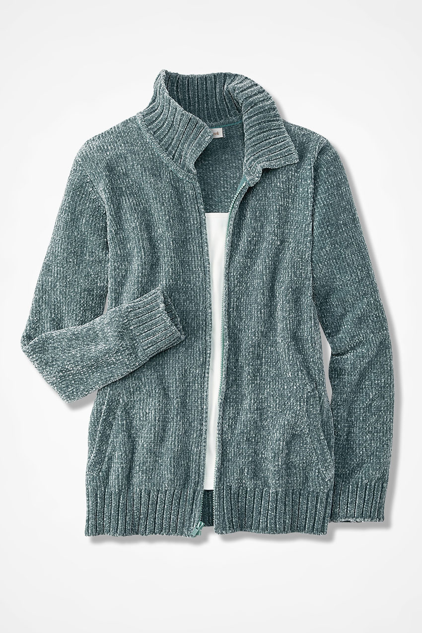 bbe90399 Zip-Front Chenille Cardigan, Shale Green, large