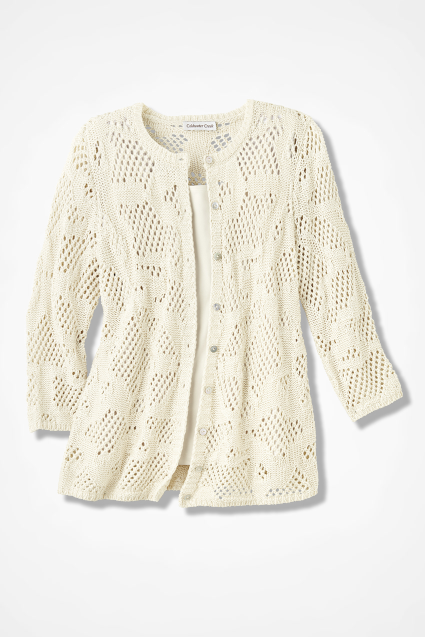 Mixed-Stitch Pointelle Cardigan - Coldwater Creek