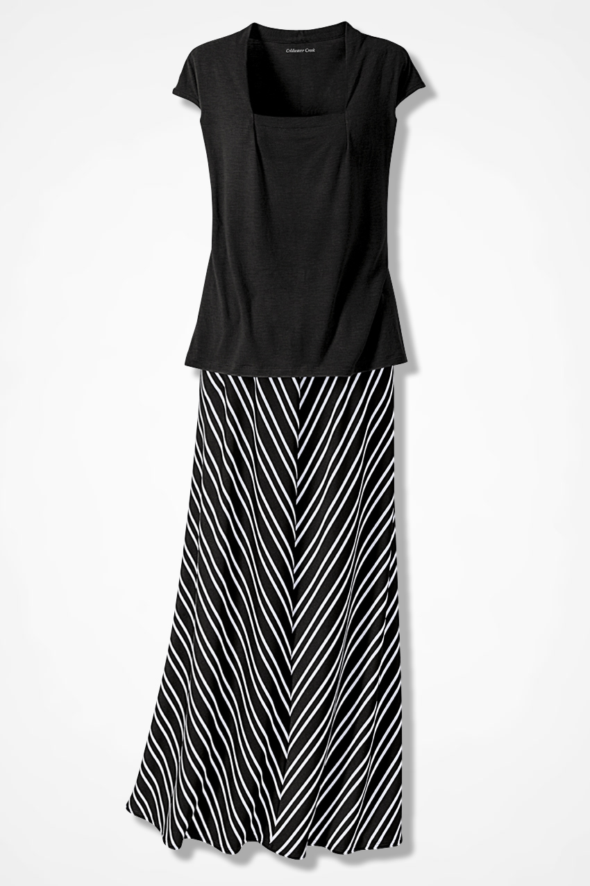 Chevron-Striped Knit Maxi Skirt - Women's Skirts | Coldwater Creek