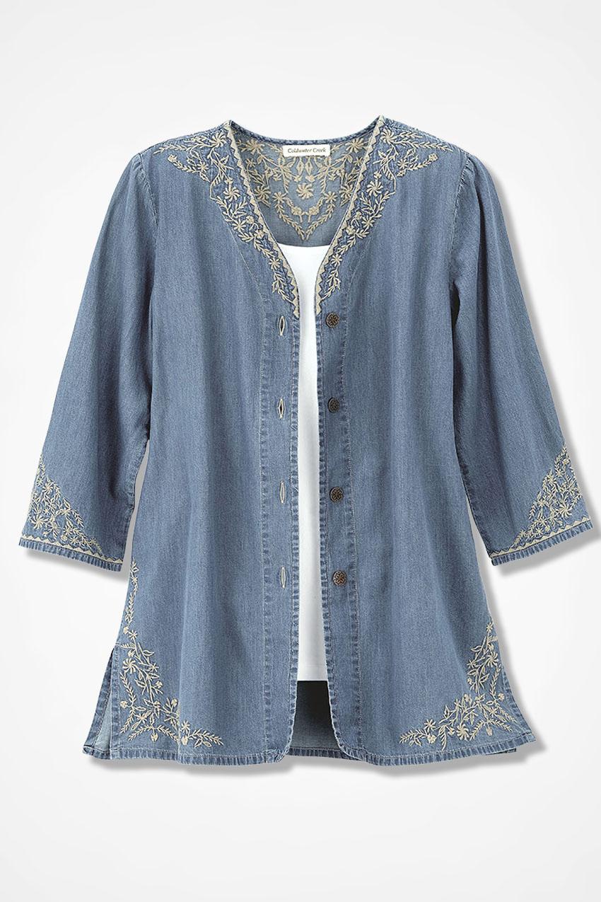 lightweight denim embroidered jacket