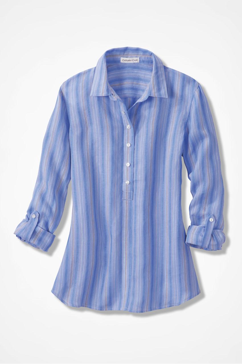 Stripe Linen Boyfriend Shirt Coldwater Creek