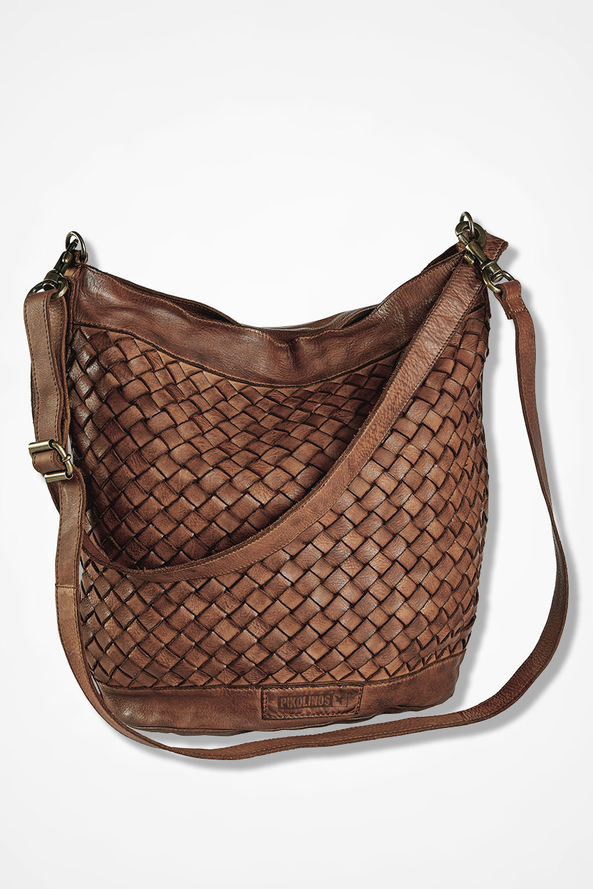 Woven Leather Shoulder Bag By Pikolinos Brown Large