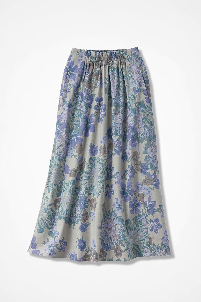 8770745469 Floral Linen Swing Skirt - Coldwater Creek