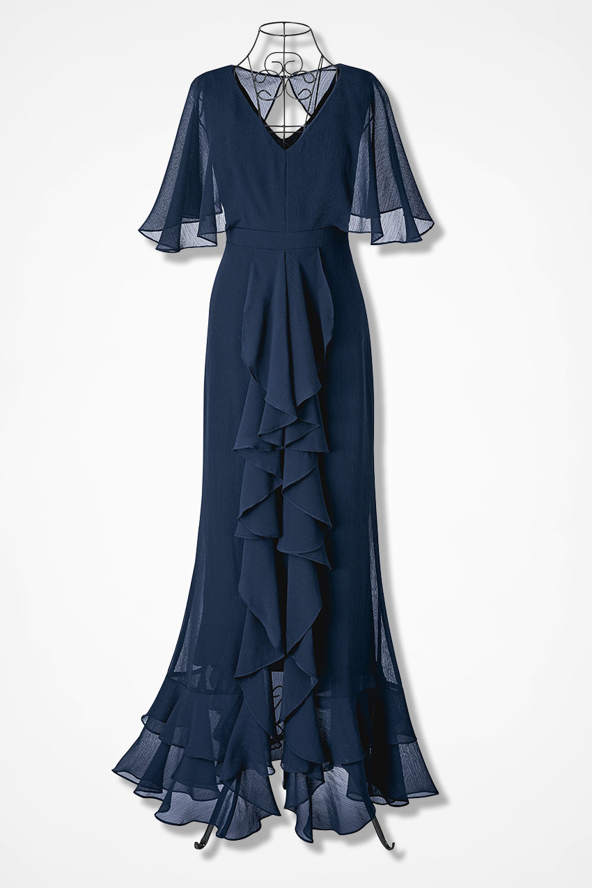 1930s Evening Dresses | Old Hollywood Silver Screen Dresses Coldwater Creek Encore of Ruffles Dress in India Ink Size 12 $199.95 AT vintagedancer.com