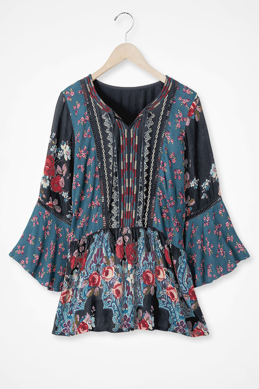 Women's 70s Shirts, Blouses, Hippie Tops Coldwater Creek Winterscape 34-Sleeve Tunic Top in Black Multi Size 2X $79.95 AT vintagedancer.com