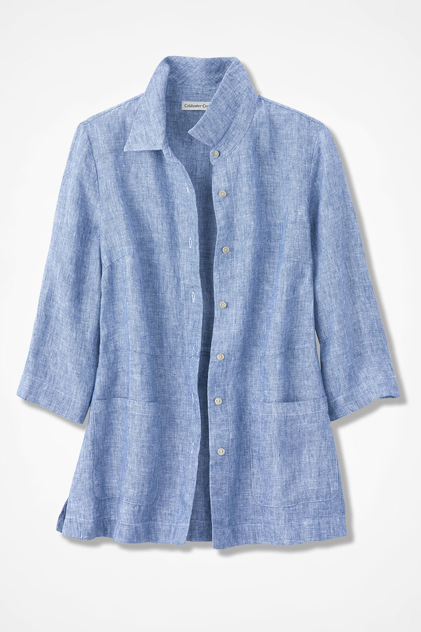 bd39bb1493b Easy Linen Shirt Jacket, Freshwater Blue, large