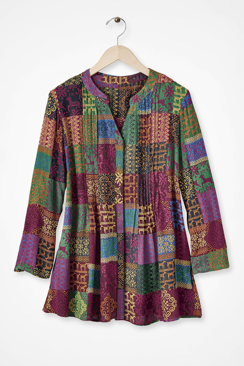 Women's 70s Shirts, Blouses, Hippie Tops Coldwater Creek Patchwork Prancer Tunic  in Blackberry Multi Size 3X $79.95 AT vintagedancer.com