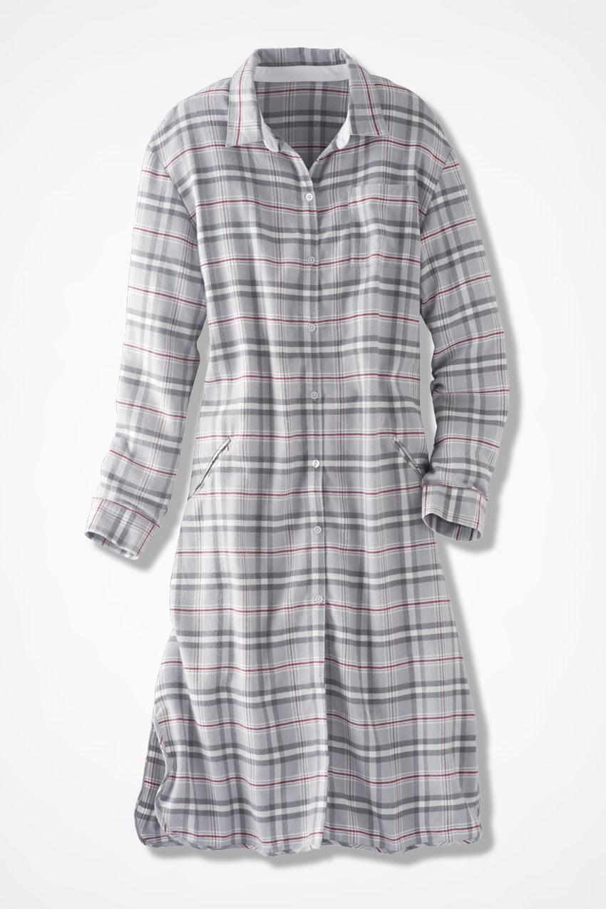 Plaid flannel sleep shirt coldwater creek for Women s flannel sleep shirt