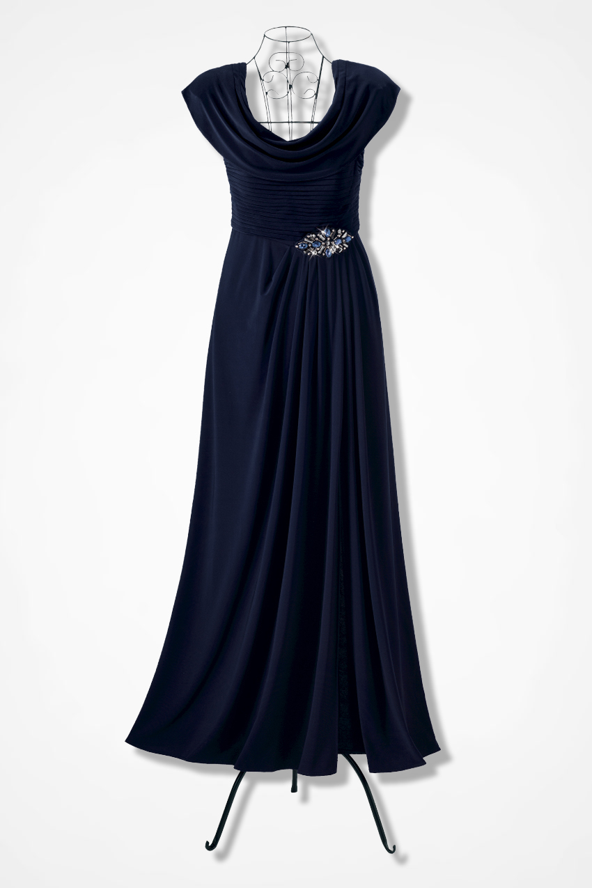 Enchanted Evening Drape Neck Dress By Patra Navy Large