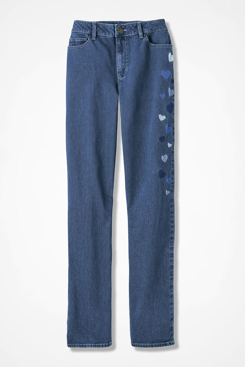 The creek� embroidered hearts slim leg jeans coldwater creek