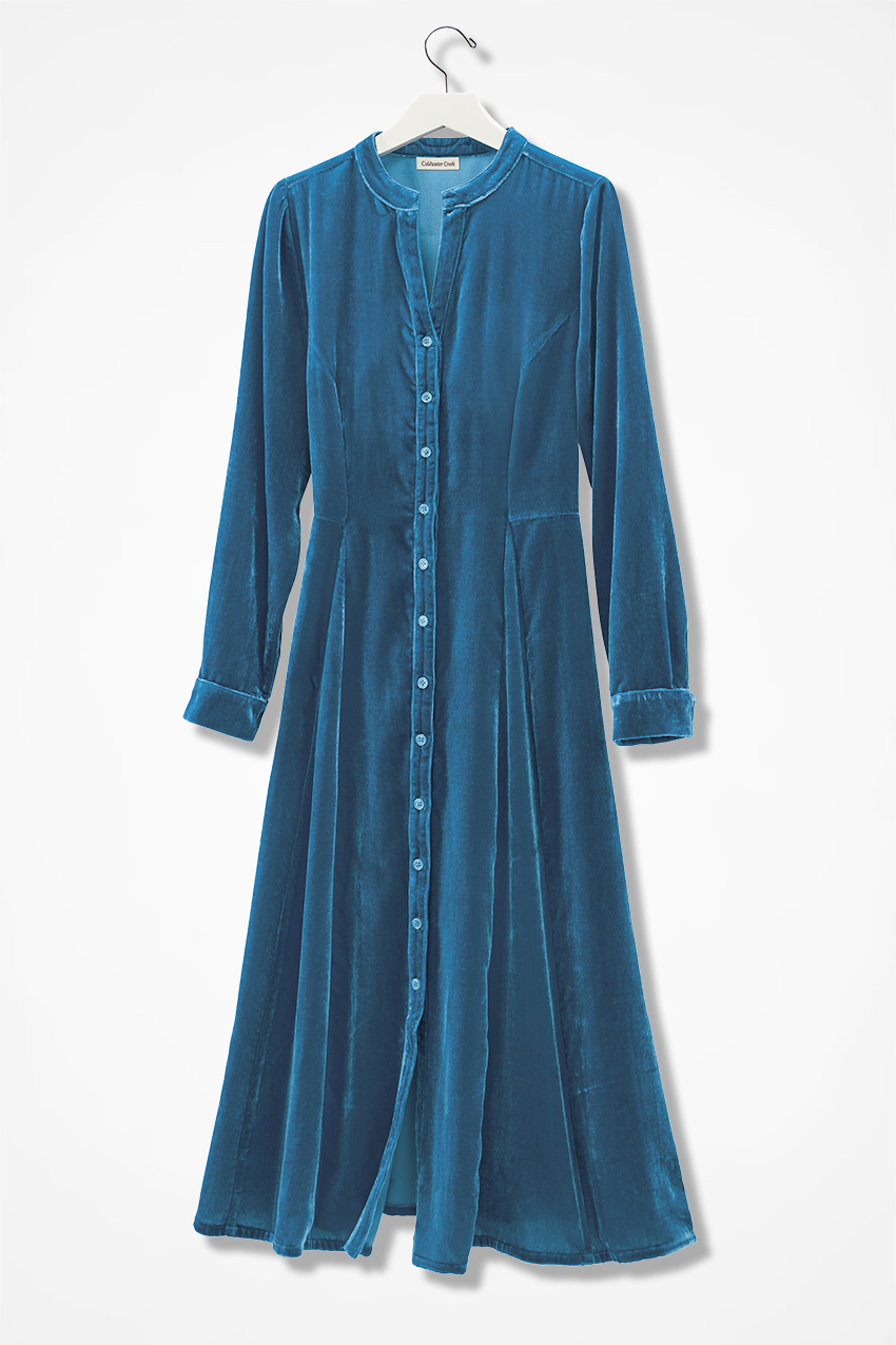 4d1bf1436 Allegro Crushed Velvet Shirtdress, Mallard Blue, large