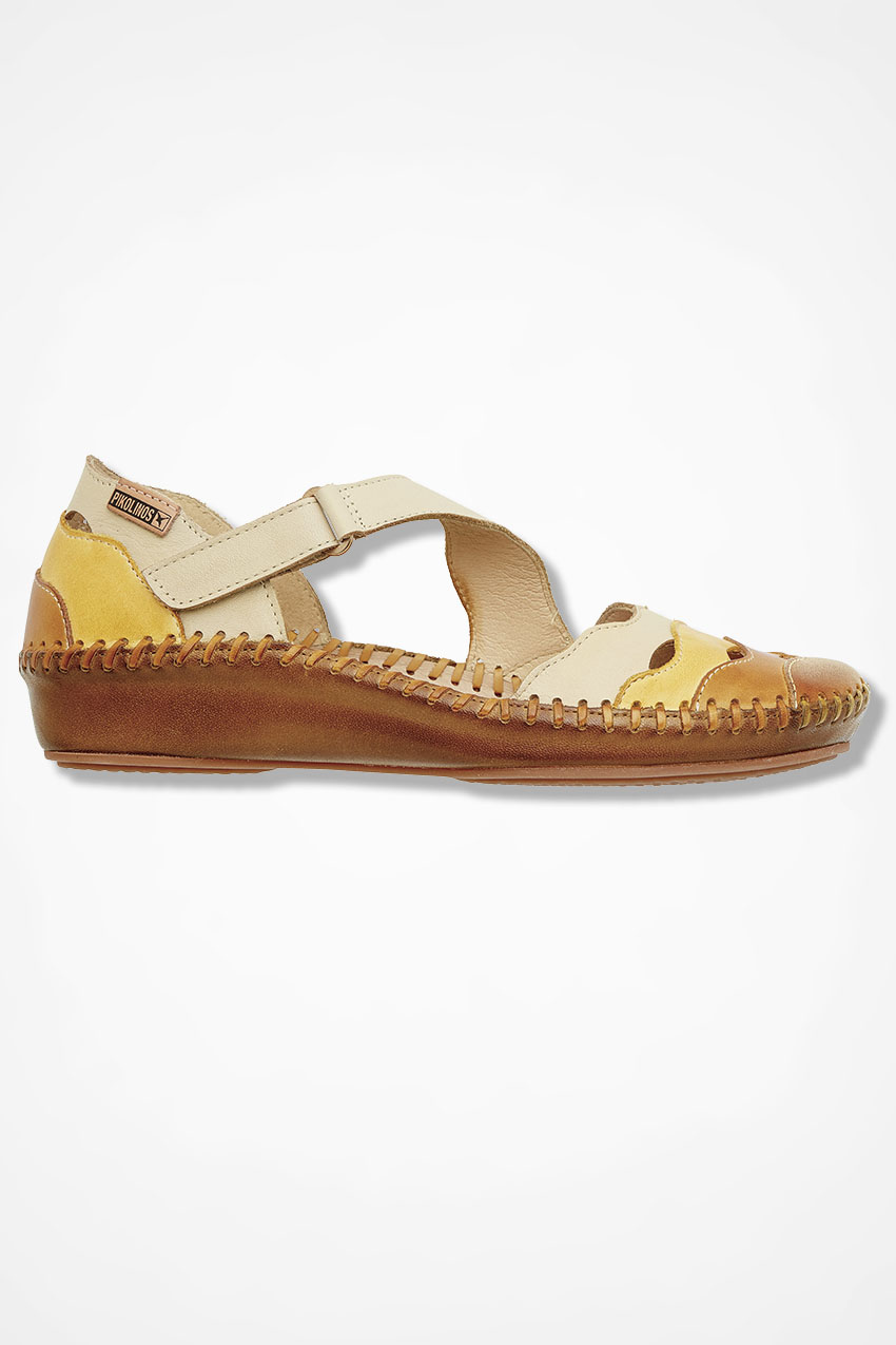 "40cb1cc4 ""Madrid"" Leather Flats by Pikolinos®, Natural, large. """