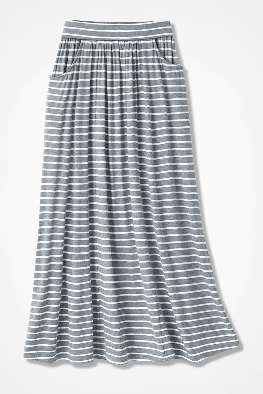 d203d62e3dc7 Striped Free and Easy Knit Maxi Skirt, White/Grey, large