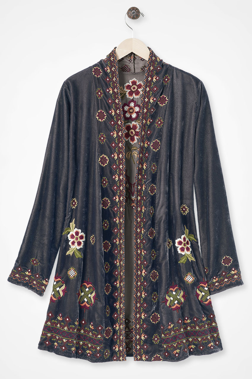 1920s Shawls, Scarves and Evening Jacket Tips Coldwater Creek Dreamers Embroidered Velvet Jacket in Grey Multi Size S $49.97 AT vintagedancer.com