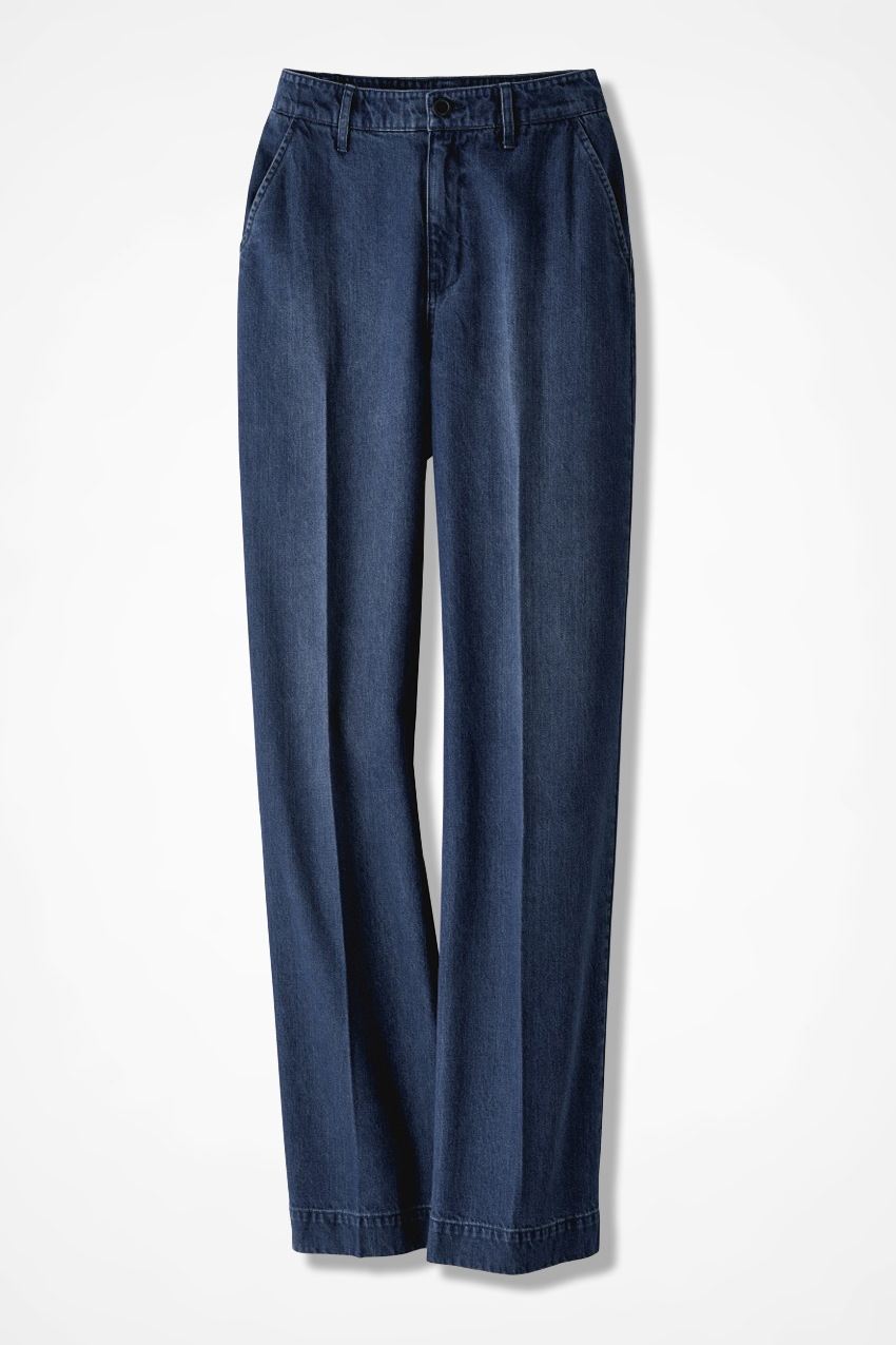 """Our denim jeans come in three rises and three leg lengths, 34"""", 36"""" and 38"""". Waistbands are perfectly positioned to ensure comfortability for tall women. The pockets are extended to accommodate the larger hand of taller women and knee positions are amended to support each leg length."""