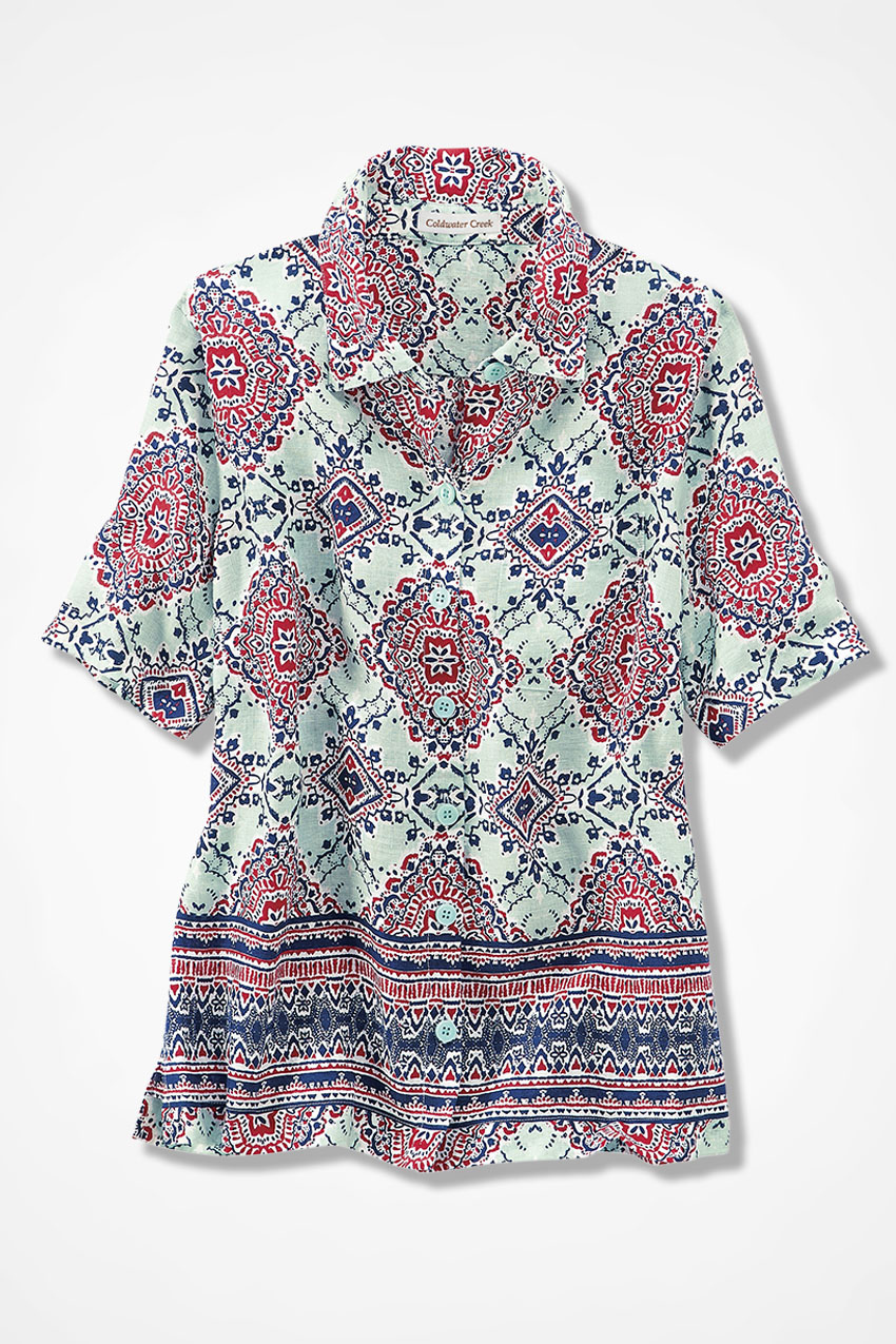 8019737c5c Linen Medallion Print Camp Shirt