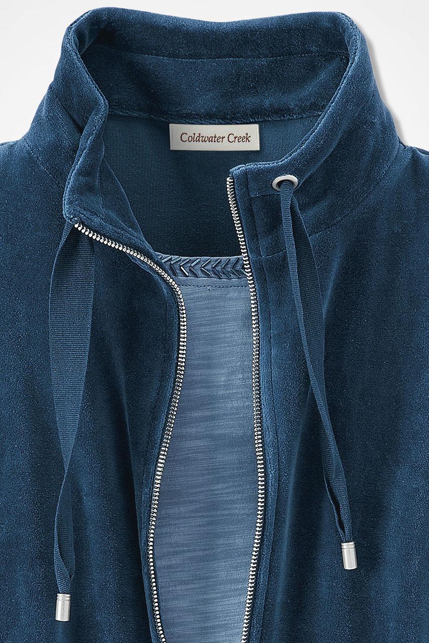 1fa598f5cbef Velour du Jour Zip-Front Jacket, Dark Dusty Blue, large