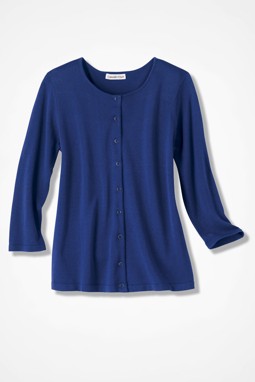 Silk Cotton Jewel Button Cardigan - Sweaters | Coldwater Creek