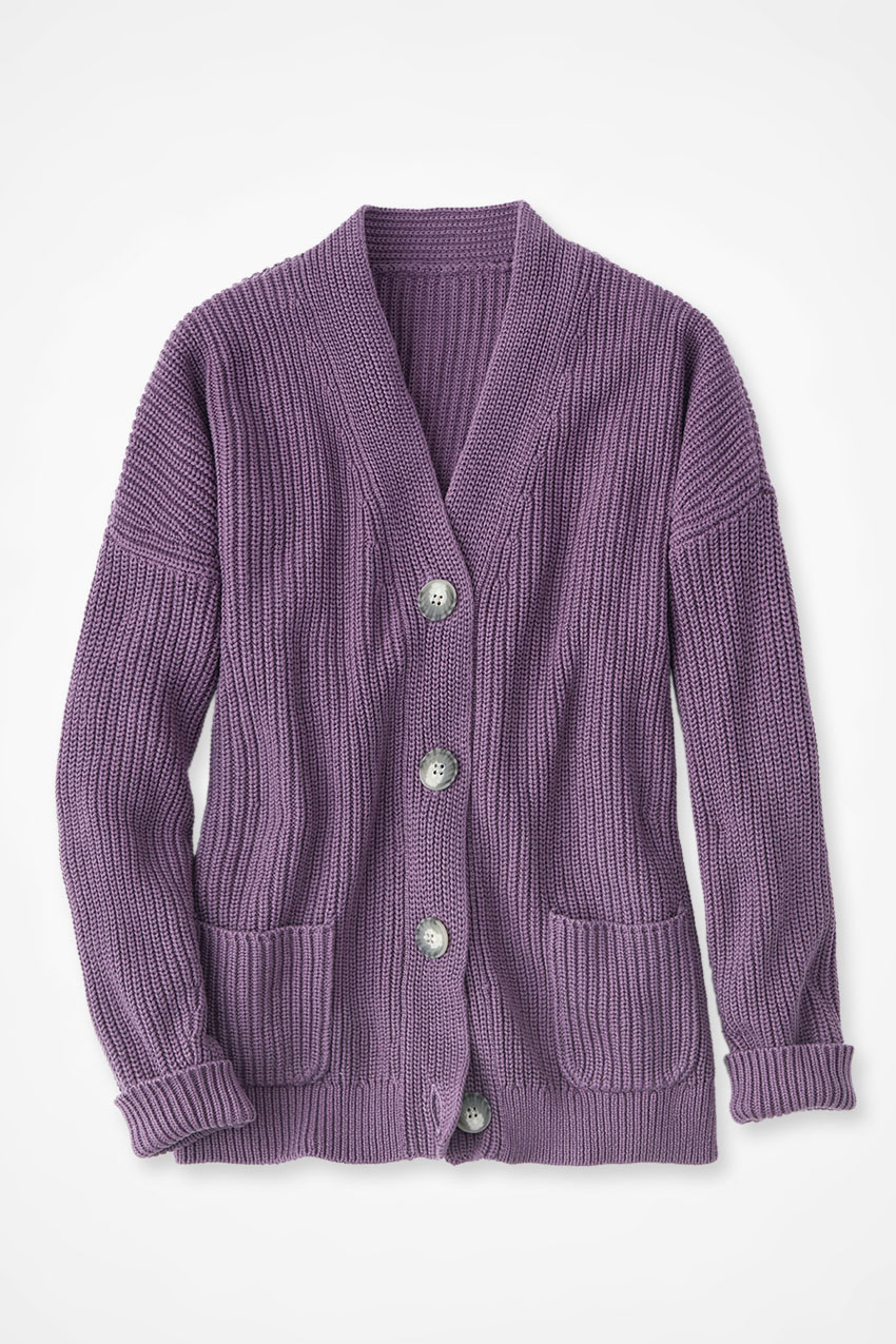 Ladies Colorful 1920s Sweaters and Cardigans History Coldwater Creek Shaker Button Cardigan Sweater in Dusty Plum Size 3X $79.95 AT vintagedancer.com